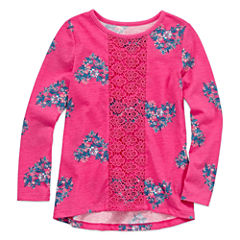 Arizona Crew Neck Short Sleeve Fitted Sleeve Blouse - Preschool Girls