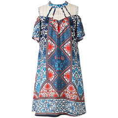 Speechless Print Cold Shoulder Peasant Dress - Girls' 7-16
