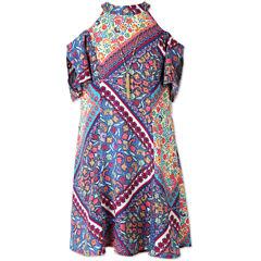 Speechless Print Cold Shoulder Peasant Dress - Girls 7-16