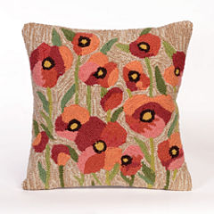 Liora Manne Frontporch Poppies Square Outdoor Pillow
