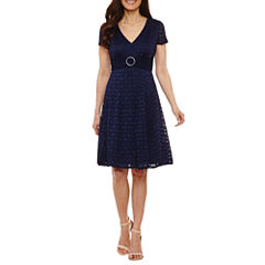 Perceptions Short Sleeve Sheath Dress-Petites