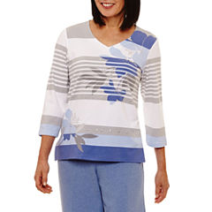 Alfred Dunner Long Weekend 3/4 Sleeve V Neck T-Shirt-Womens