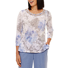Alfred Dunner Long Weekend 3/4 Sleeve Crew Neck T-Shirt-Womens
