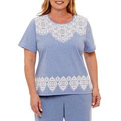Alfred Dunner Long Weekend Short Sleeve Crew Neck T-Shirt-Womens Plus
