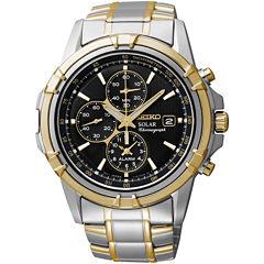 Seiko® Mens Two-Tone Brown Dial Chronograph Watch SSC142