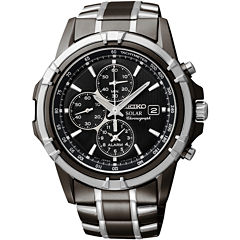 Seiko® Mens Black Chronograph Watch SSC143