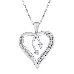 1/5 CT. T.W. Diamond 10K White Gold Heart & Arrow Pendant Necklace