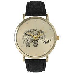 Olivia Pratt Womens Rhinestone Accent Elephant Dial Black Leather Watch 26411Black