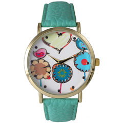 Olivia Pratt Womens Multicolor Heart, Birds And Flowers Dial Mint Leather Watch 26362Mint