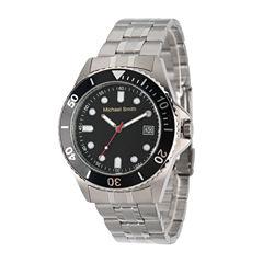 Personalized Mens Silver Tone Black Dial Diver Bracelet Watch