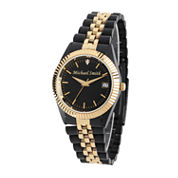 Personalized Mens Black And Gold Tone Diamond Accent Bracelet Watch