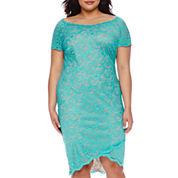 Bisou Bisou® Off-The-Shoulder Lace Sheath Dress - Plus