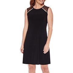 Scarlett Sleeveless Embellished Illusion-Shoulder Fit-and-Flare Dress