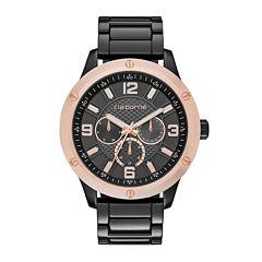 Claiborne® Mens Gunmetal Watch