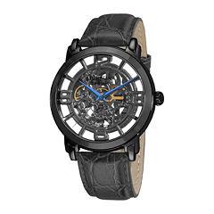 Stührling® Original Mens Gray Dial Croc-Look Strap Skeleton Automatic Watch
