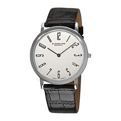 Stührling® Original Mens White Dial Alligator-Look Black Leather Strap Watch