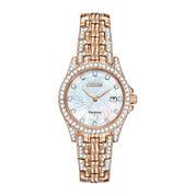 Citizen® Eco-Drive® Silhouette Womens Crystal-Accent Bracelet Watch EW1228-53D