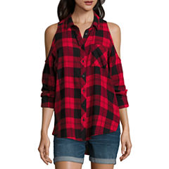 Arizona Cold Shoulder Plaid Shirt-Juniors