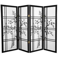 Oriental Furniture 4' Bamboo Tree Shoji 4 Panel Room Divider