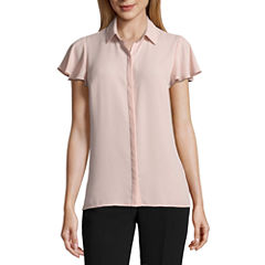 Worthington Short Sleeve Y Neck Georgette Blouse