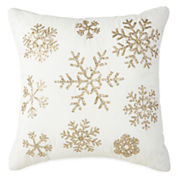 North Pole Trading Co. Snowflakes Sequins Decorative Pillow