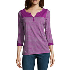 SJB Active 3/4 Sleeve V Neck T-Shirt-Womens