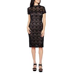 Onyx Nites Short Sleeve Sheath Dress