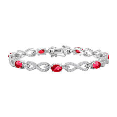 Womens 7 1/2 Inch Lab Created Ruby Sterling Silver Chain Bracelet