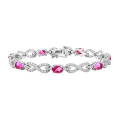 Womens 7 1/2 Inch Pink Sapphire Sterling Silver Chain Bracelet