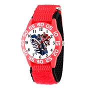 Marvel Boys Red And White Captain America Civil Way Time Teacher Plastic Strap Watch W003124