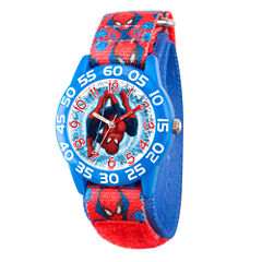 Marvel Boys Red And Blue Ultimate Spiderman Time Teacher Plastic Strap Watch W003226