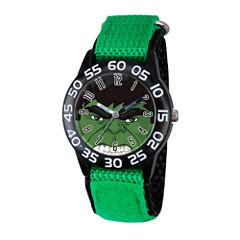 Marvel Boys Green Avengers Hulk Time Teacher Plastic Strap Watch W003250