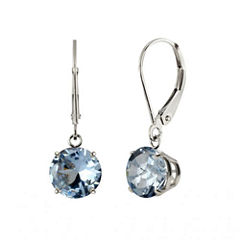 Lab-Created Aquamarine Sterling Silver Leverback Dangle Earrings