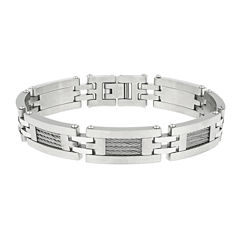 Mens Stainless Steel Cable Link Bracelet