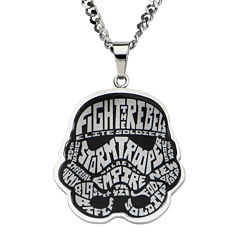 Star Wars® Stormtrooper Mens Stainless Steel Pendant Necklace