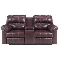 Signature Design by Ashley® Kennard Double Recliner Loveseat with Console
