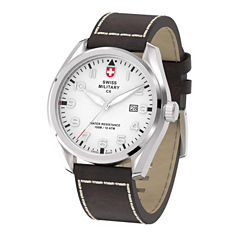 Swiss Military By Charmex Pilot Mens Brown Strap Watch-78333_11_C