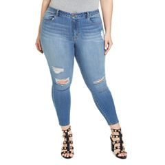 Fashion To Figure Destructed Ankle Skinny Jeans Womens Plus