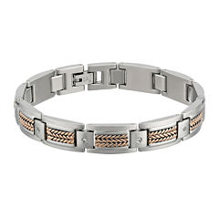 Mens Cubic Zirconia Stainless Steel and Rose Ion Plated Link Bracelet