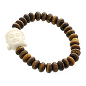 Dee Berkley Mens Tiger's Eye and Resin Buddha Bead Stretch Bracelet