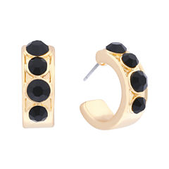 Monet® Black Stone Gold-Tone Hoop Earrings
