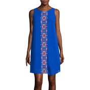 My Michelle® Sleeveless Embroidered Panel Shift Dress