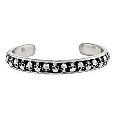 Mens Stainless Steel Antiqued Skull Cuff Bracelet