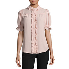 Worthington Short Sleeve Crew Neck Georgette Blouse