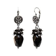 Aris by Treska Silver-Tone Black Beaded Drop Earrings