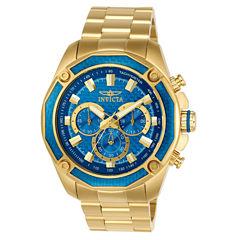 Invicta Aviator Mens Gold Tone Bracelet Watch-22805