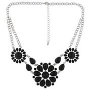 Decree® Black and Silver-Tone 3-Circle Statement Necklace