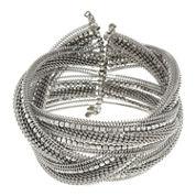 Decree® Braided Silver-Tone Cuff Bracelet