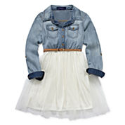 Weavers Chambray Long-Sleeve Belted Ballerina Shirtdress - Girls 7-16