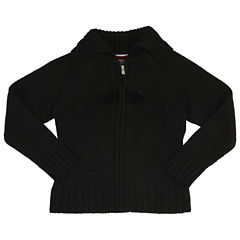 French Toast Pom-Pom Zip-Up Sweater Long Sleeve V Neck Cardigan Girls